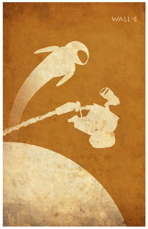 Pixar WallE Vintage Minimalist Poster Poster A3 by Posterinspired