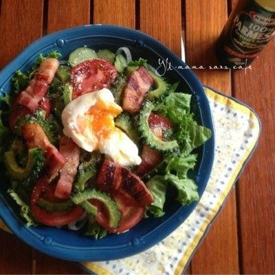 レシピ. 簡単おもてなし♡厚切りベーコンとゴーヤのシーザーサラダ♡ 半熟卵の作り方