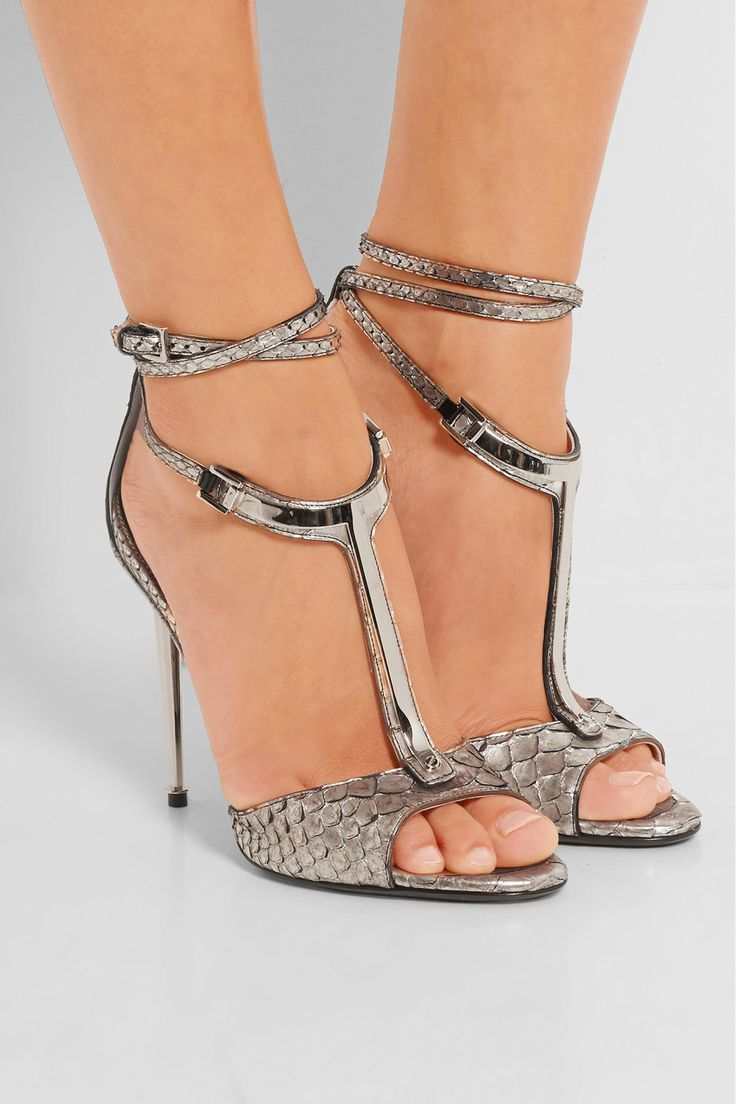 Tom Ford | Embellished metallic python T-bar sandals | NET-A-PORTER.COM