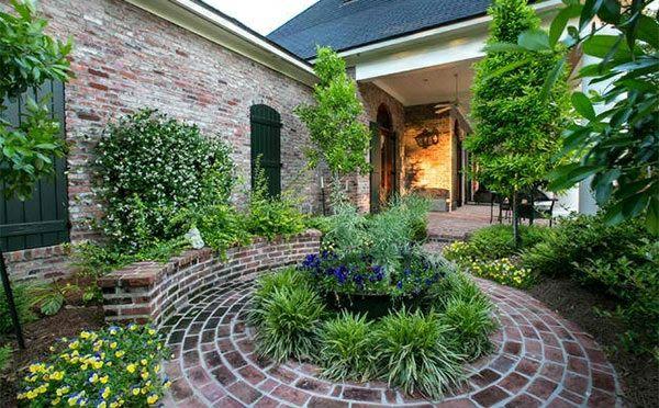 Garten Landschaftsbau mit Ziegeln – 15 tolle Gartengesteltung Ideen - terrasse gartenideen pflanzen garten landschaftsbau mit ziegeln