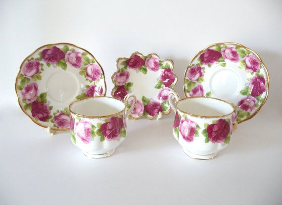 Royal Albert Old English Rose Set of 2 Teacups 2 Saucers 1 Plate