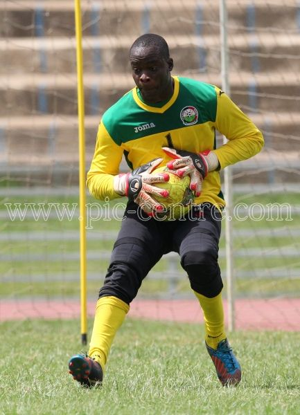 Harambee Stars goalkeeper Wycliff Kasaya during training session at Nyayo National Stadium on May 14, 2014. Stars will play Comoros Island in the 2015 AFCON preliminary match on Sunday at the same venue. Photo/Fredrick Onyango/www.pic-centre.com