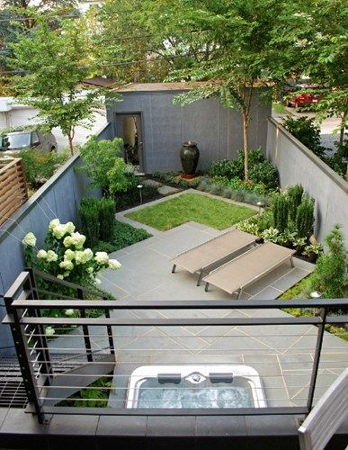 Don't like the overall finish, but do like the clever use of two squares at an angle to create planting spaces along the sides. Would make a small space seem larger. Can see it working well in your space.