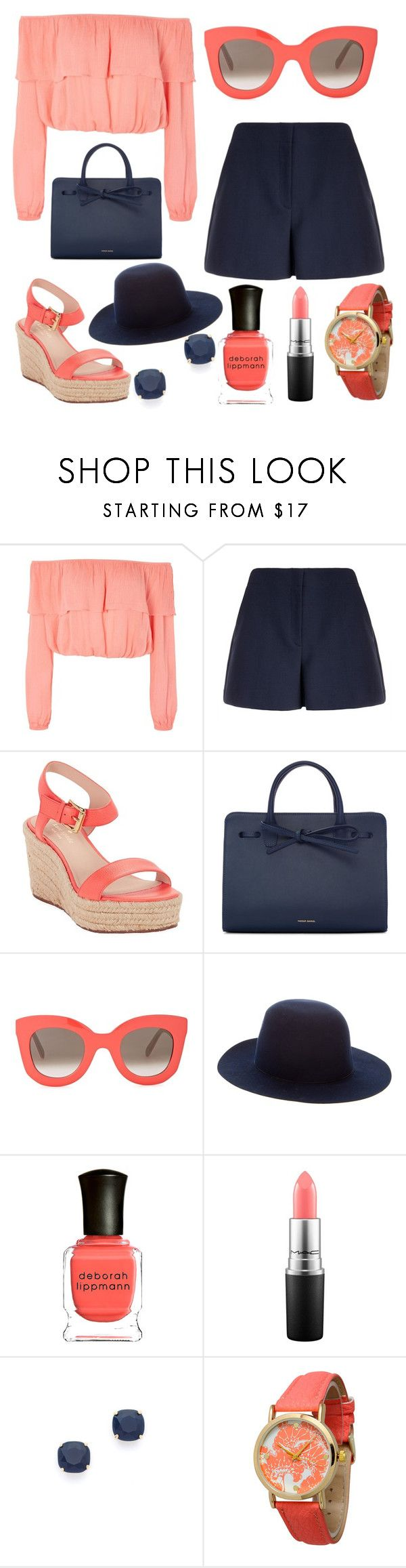 """navy and coral"" by k26brooks ❤ liked on Polyvore featuring Glamorous, Theory, Kate Spade, Mansur Gavriel, CÉLINE, Filù Hats, Deborah Lippmann, MAC Cosmetics and Olivia Pratt"