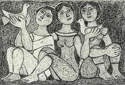 George Sikeliotis (1917-1984)Girls with pigeons (ink on paper)