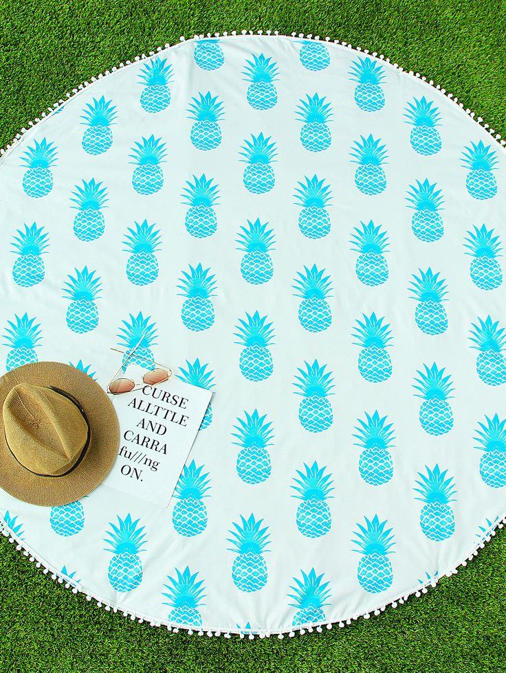 Shop Blue Pineapple Print Pom Pom Trim Round Beach Blanket online. SheIn offers Blue Pineapple Print Pom Pom Trim Round Beach Blanket & more to fit your fashionable needs.