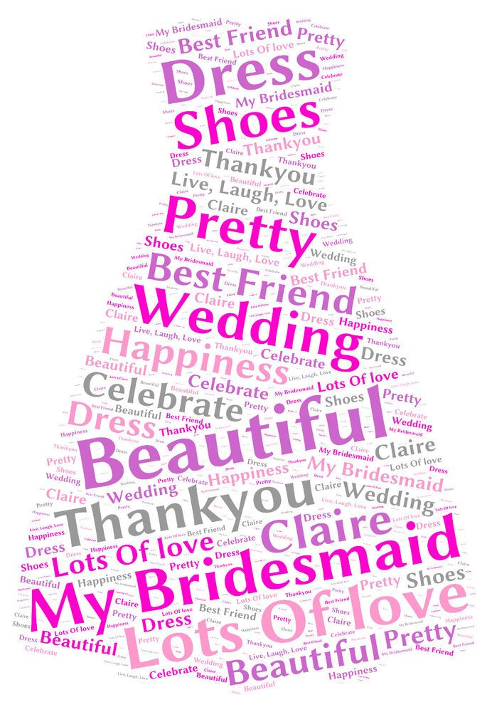 Personalised Word Art A4 Dress Print Bridesmaid Wedding Birthday Thankyou Gift
