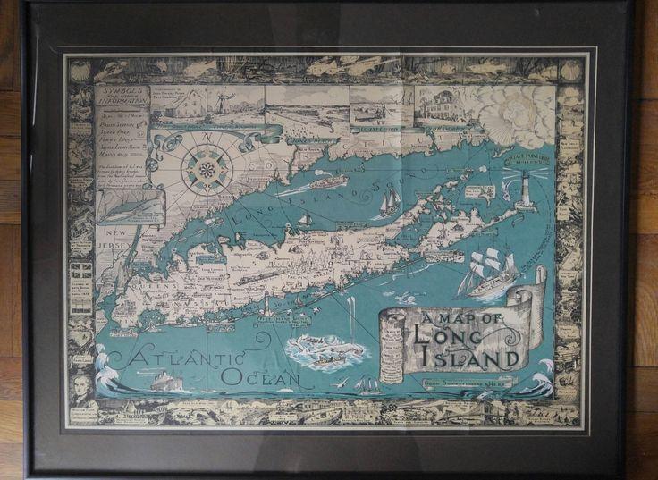 Lot 357 S105 - Vintage map of Long Island New York - Est. $400-500 - Antique Reader