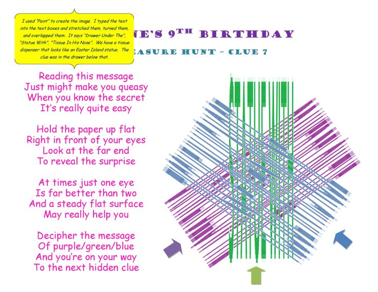 Birthday Treasure Hunt Clue 7 #Treasure #Hunt #Treasurehunt #Clue07