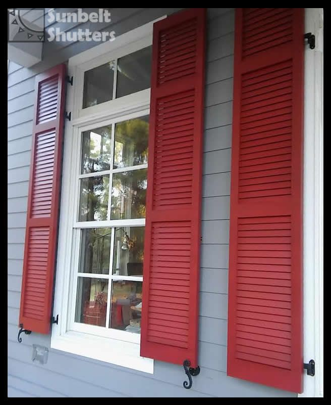 Best 25 louvered shutters ideas on pinterest diy exterior louvered shutters coordinating for Exterior louvered window shutters