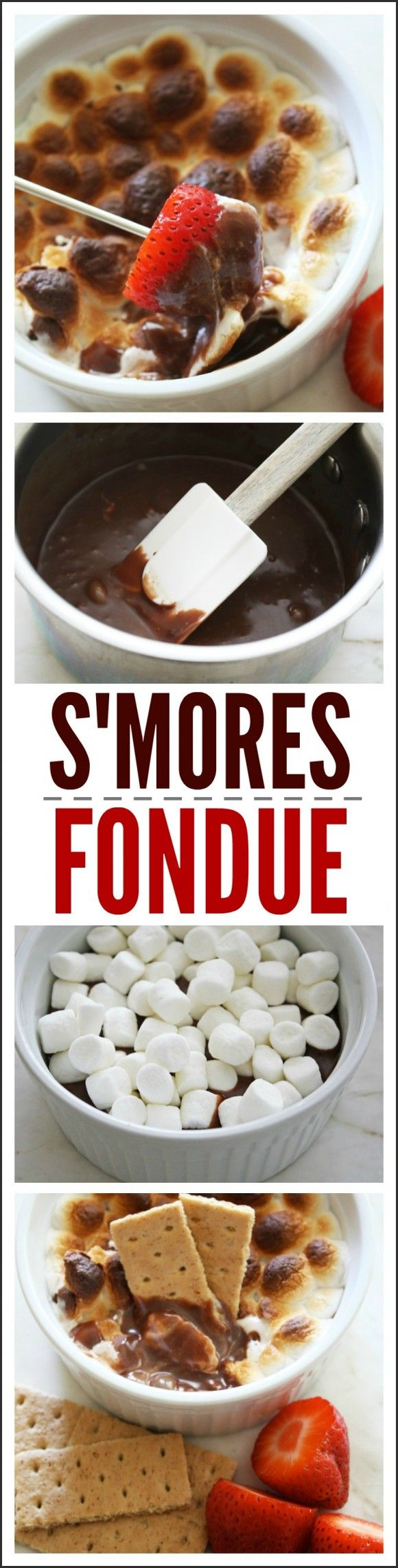 Made with semi sweet chocolate and white chocolate chips, your family will love this s'mores fondue recipe! It's a great dessert to serve at a winter party. Don't the marshmallows look divine?  | CatchMyParty.com