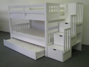 HOT DEAL: STAIR CASE BUNK BEDS WITH STORAGE AND TRUNDLE BED 799$
