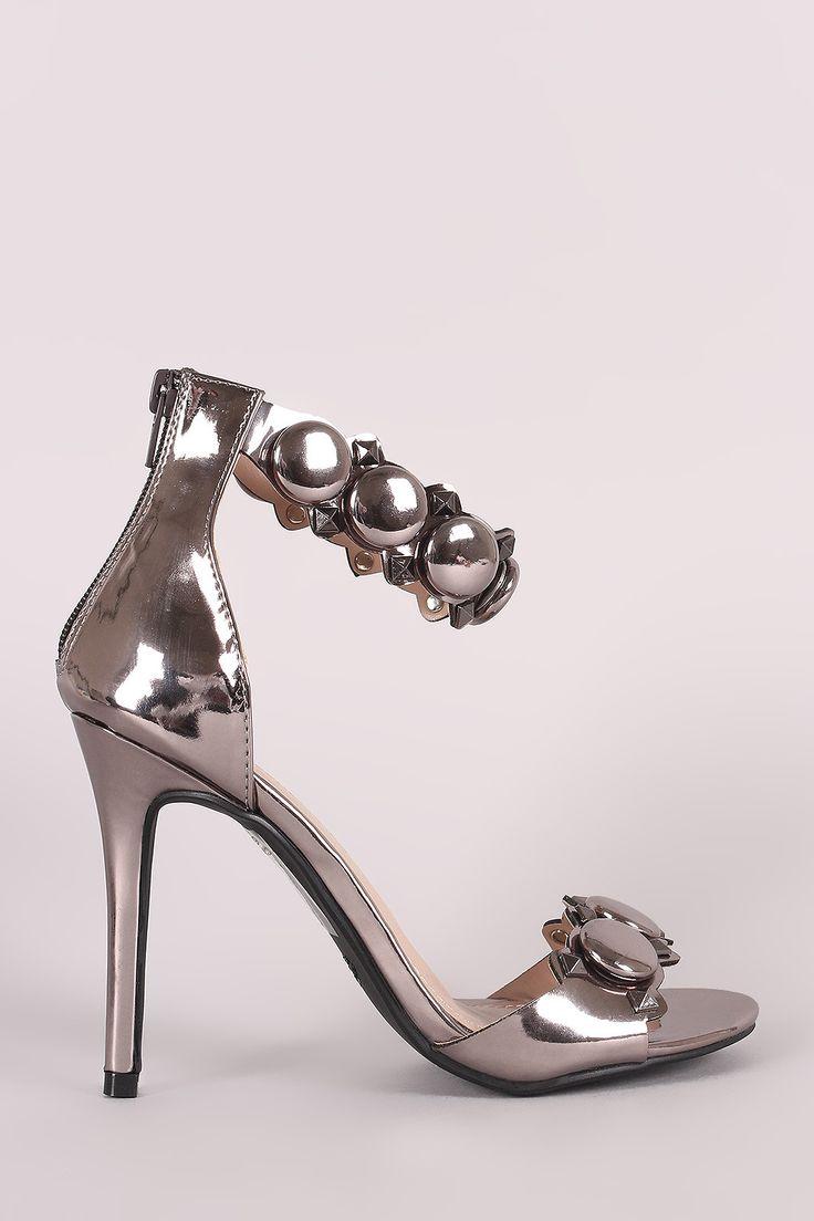 Shoe Republic LA Button And Stud Ankle Strap Stiletto Heel