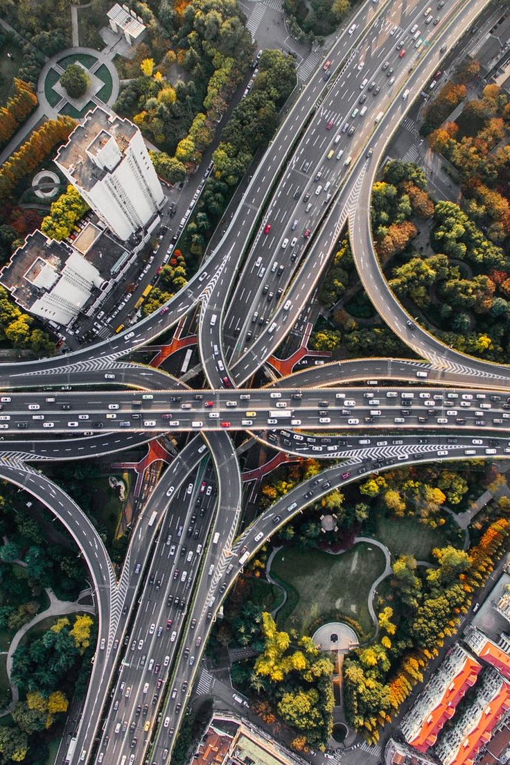 Bird's Eye View of Intersection and Overpasses during Daytime