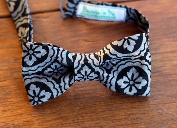 Mens Bow Tie Black and Gray Medallion Print Cotton by becauseimme (Accessories, Suit & Tie Accessories, Bowties, dressy suit, casual dress wear, preteen bowtie, baby boy bow tie, child tie, pretied adjustable, boys bowties, teamfest, boys bowtie, gray black ebony, floral medallion, man men mans mens, teen teenager boy)