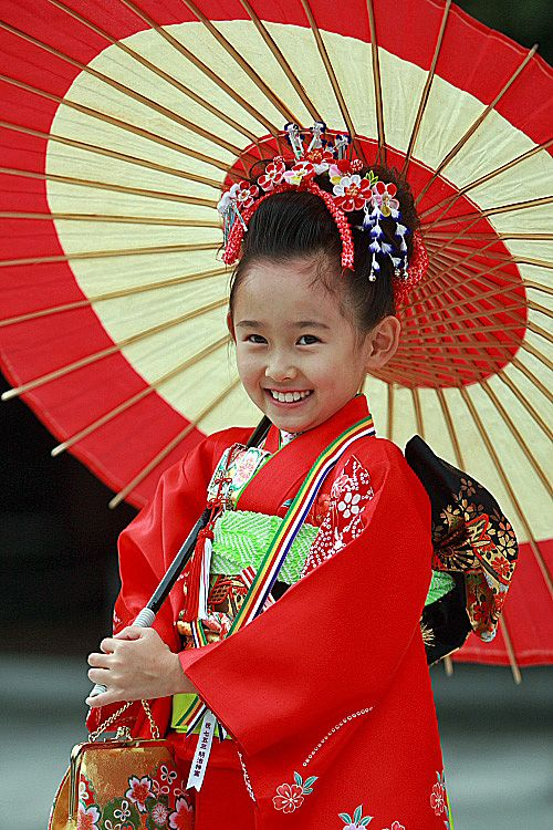 """Shichi-Go-San (七五三, """"Seven-Five-Three"""") is a traditional rite of passage and festival day in Japan for three and seven year-old girls and three and five year-old boys, held annually on November 15. As Shichi-Go-San is not a national holiday, it is generally observed on the nearest weekend."""