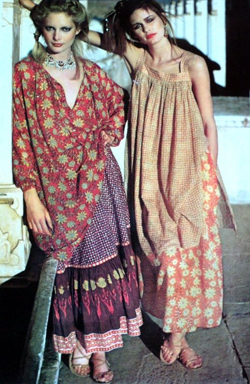 70's gauze India dresses Here I pin because of the silk band at the neckline of the beige dress.