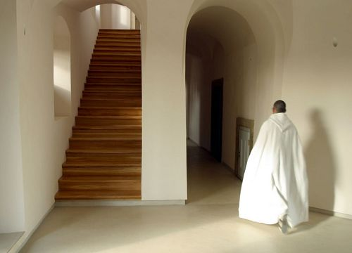 Classical forms meet minimalist treatment at John Pawson's project for a Cistercian monastery.