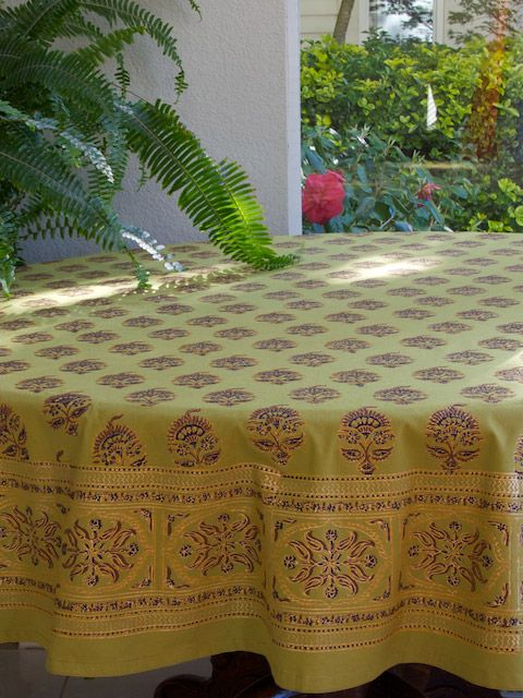 Green Tablecloth, Indian Tablecloth, Asian Tablecloth, 90 Round Tablecloth,  70 Round Tablecloths