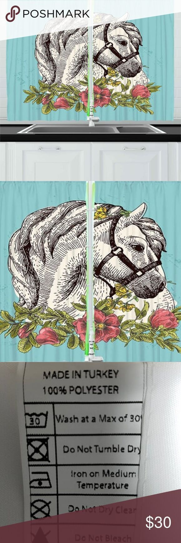 Kitchen Curtains Fl Horse Drawing