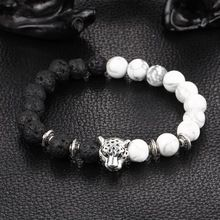 2017 moda lava & cuentas de piedras naturales pulseras del encanto blanco y negro cabeza de leopardo animal pulseras para hombres de las mujeres unisex de la joyería(China (Mainland))