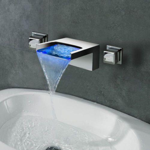 Wall Mounted LED Waterfall 3pcs Bathroom Basin Faucet Mixer Tap