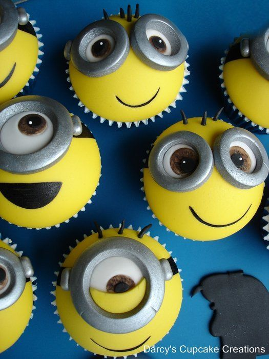 minion cupcakes from despicable me and Gru. Should really have made the minions so that the edge of the cupcake case is not seen as they look like bumble bees to me…… will remember that for next time as was pushed for time and couldn't redo them....