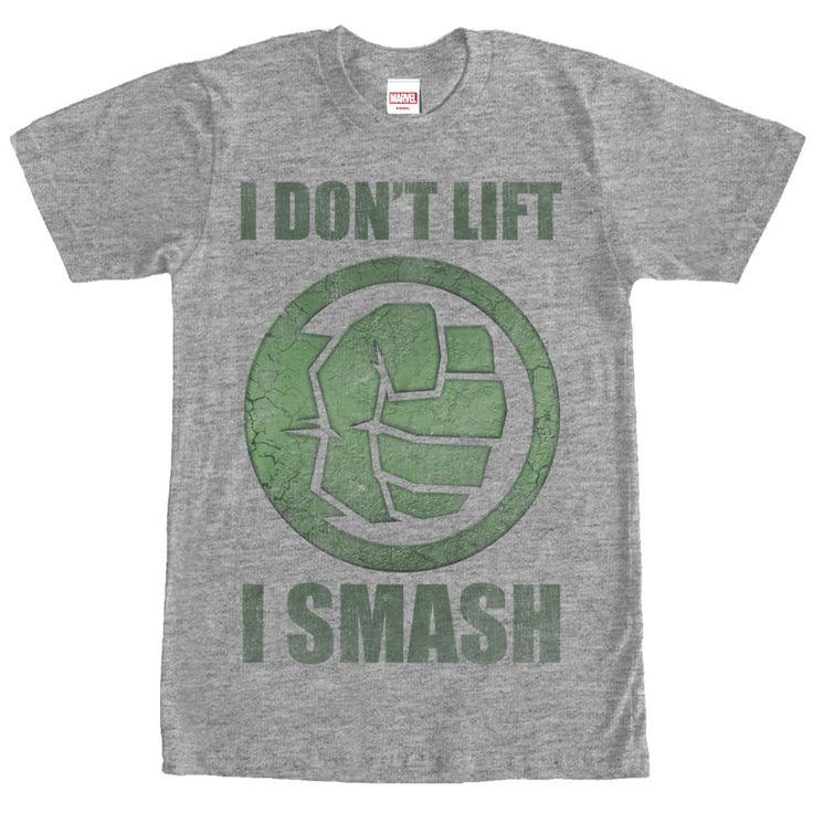 "Join the Hulk at the gym to de-stress with the Marvel Hulk Smash Heather Gray T-Shirt. This funny gray Hulk shirt is a perfect motivator with ""I don't Lift. I Smash"" next to a graphic of Hulk's fist i"