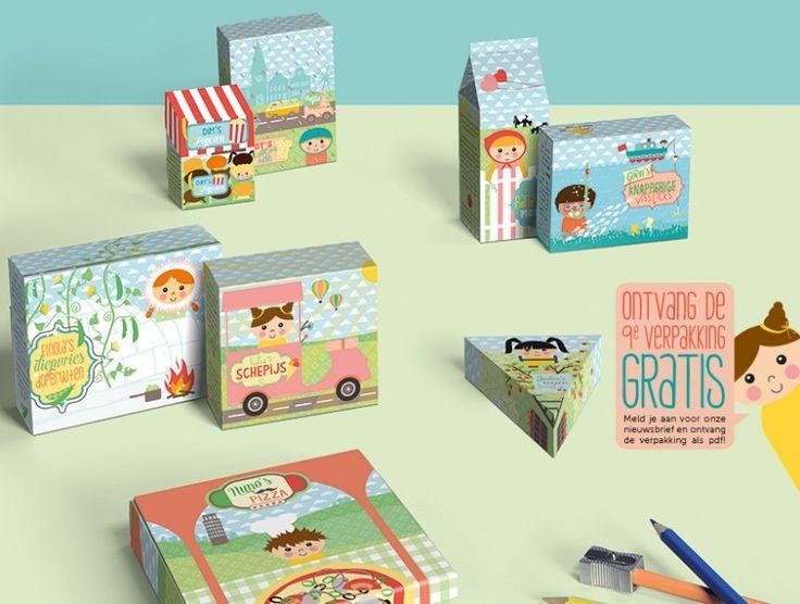 De Ontwerpwinkel | Papieren speelgoed voor de kids. Vouw je eigen verpakkingen in elkaar. Kleur ze in of gebruik de gedrukte zijde. 8 verpakkingen in een setje.