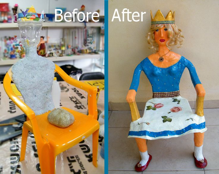 Before - a broken plastic chair. After - a beutiful princess shaped decorative stand. http://www.etsy.com/shop/RecycoolArt?ref=si_shop