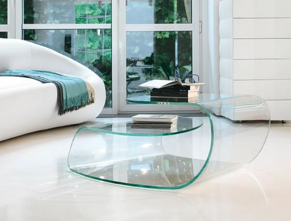 Modern Coffee Table Produced From A Single Piece Of Glass In Transparent Or Smoked Glass