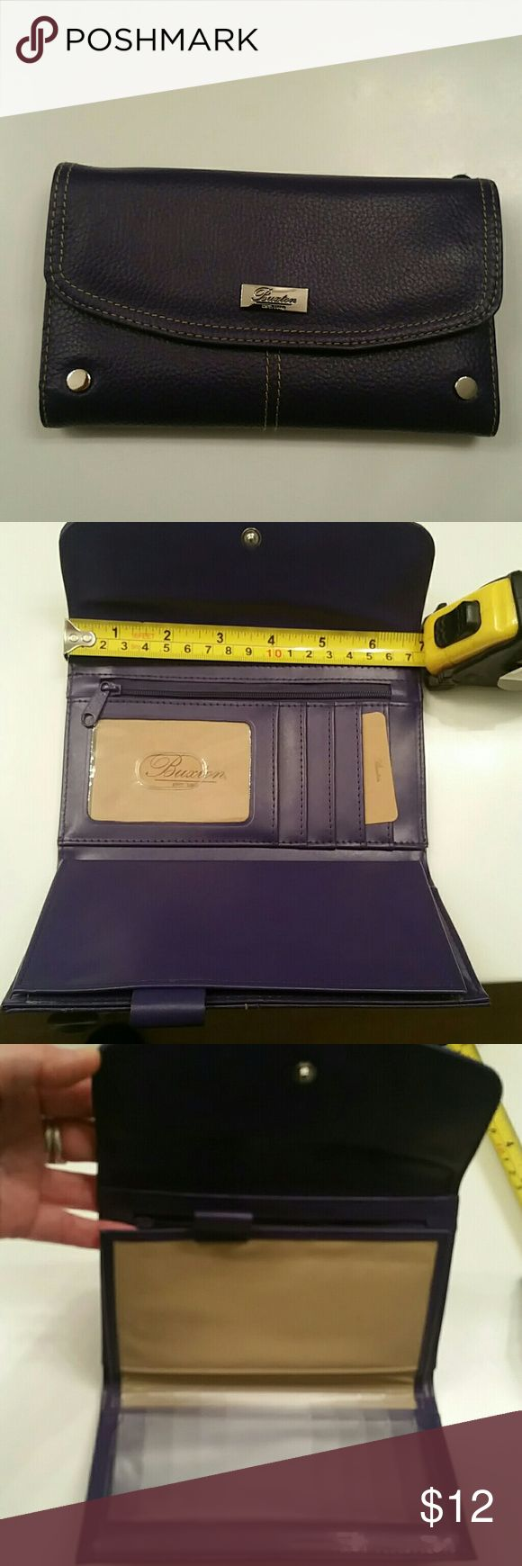 Buxton wallet NWOT purple snap closure wallet, place for cards,  checkbook, pictures and external zip pocket for coins. Buxton  Bags Wallets