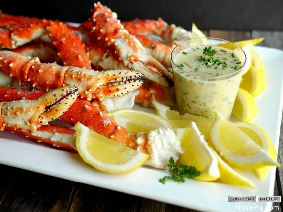 Steamed King Crab Legs with beurre blanc for dipping - Great Deals at www.AlaskaKingCrabs.com