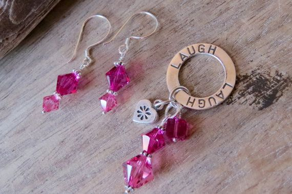 LAUGH pendant and earrings set sterling by CreativeWorkStudios