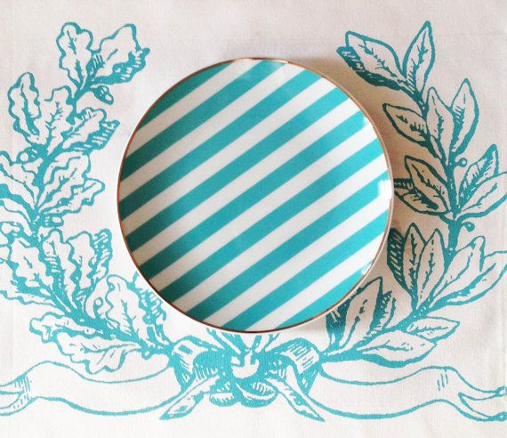 Turquoise Stripe Porcelain Plate by secdus on Etsy, $16.50