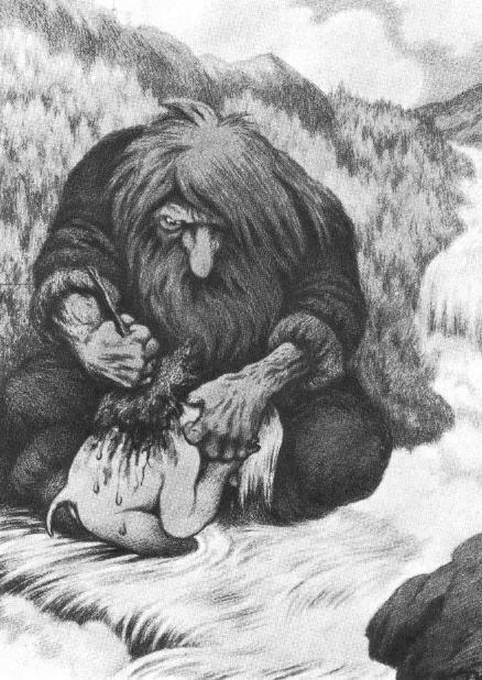 Theodor Kittelsen - Troll som vasker ungen sin