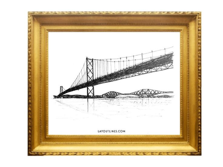 2 x FORTH BRIDGES prints from original ink by shopLAYOUTLINES