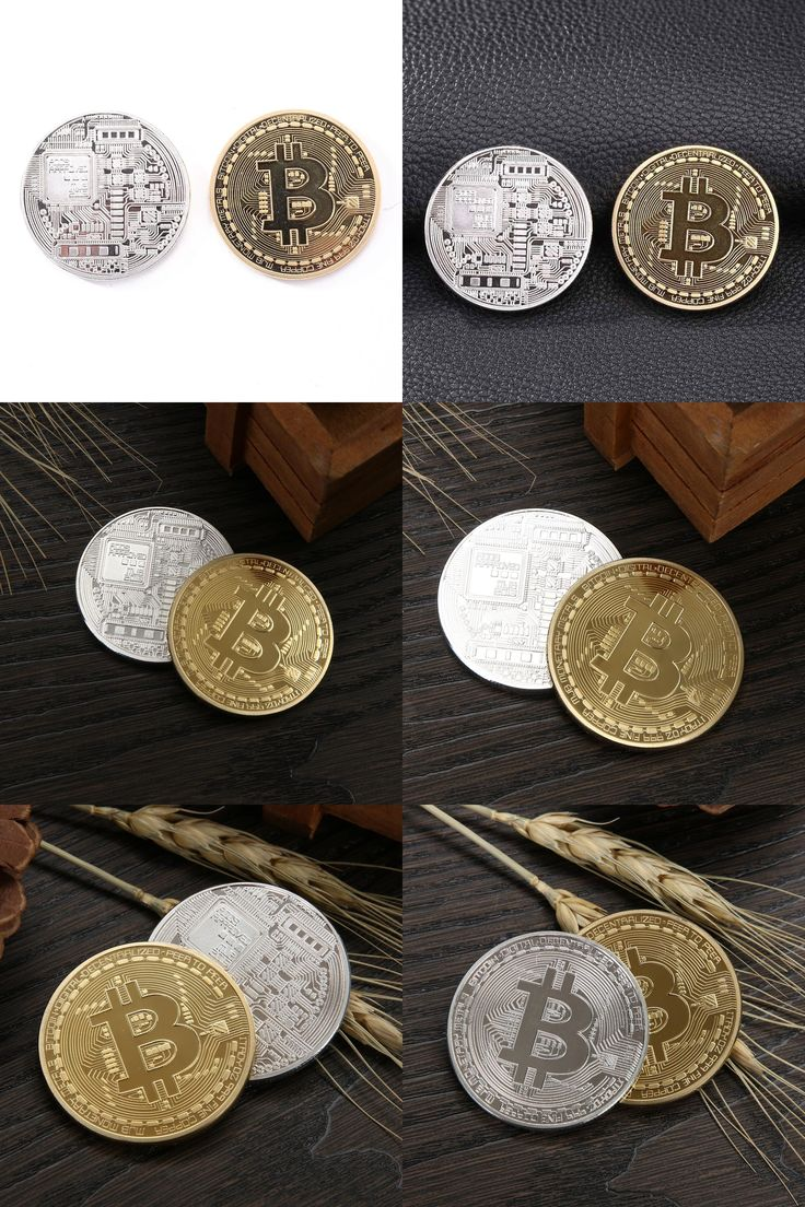 [visit To Buy] Gold Plated & Bronze Physical Bitcoins  1 Of Each