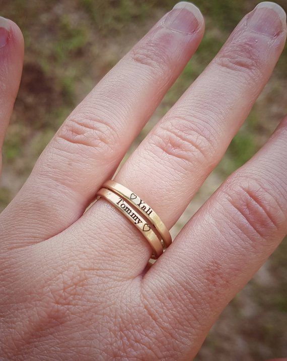gold ring for mothers day gift 14k personalized name ring custom ring with name 14 karat solid gold stacking engraved hearts name ring