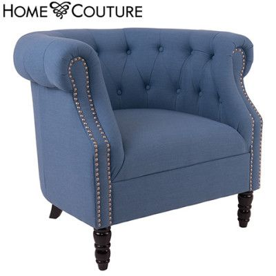 William Tub Chair - Fabric Armchair with Button Back   Buy Sofa & Arm Chairs Online - oo.com.au