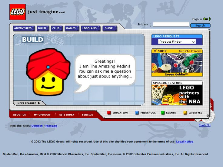 Lego website 2002