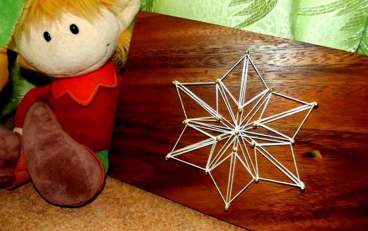 Wooden string art #Snowflake #DIY #Christmas    Fiocco di neve, #natale, #legno.