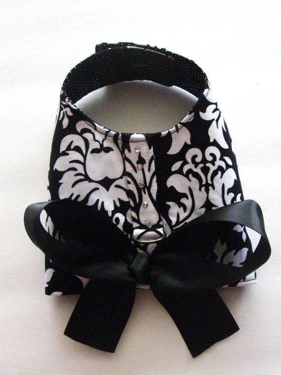 Black Damask Dog Harness Vest