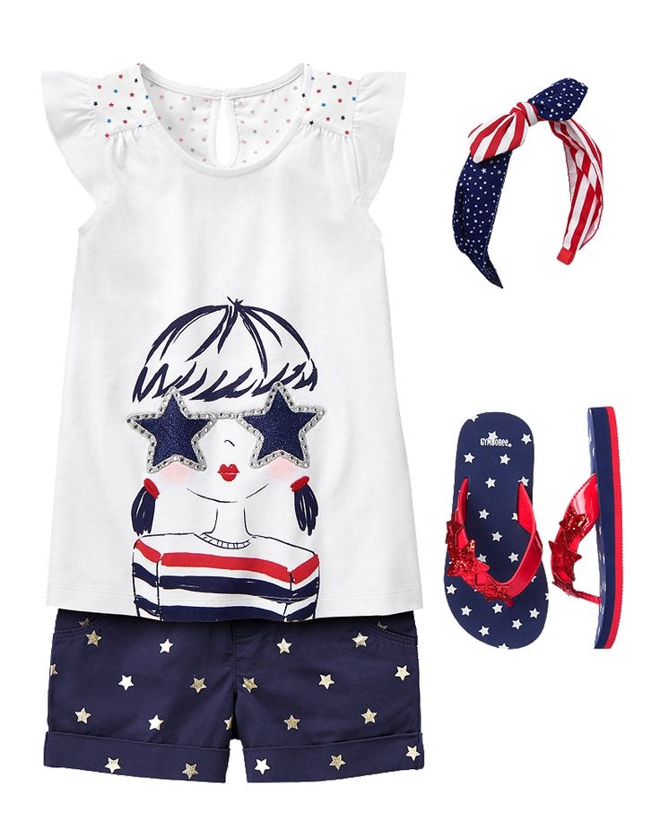 Gymboree Girl Red White & Cute Sparkle and Shine Outfit