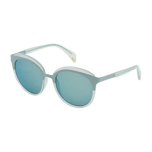 Police SPL499 SMCX Sunglasses ($140) ❤ liked on Polyvore featuring accessories, eyewear, sunglasses, aqua blue, oval glasses, oval sunglasses, lens glasses, police sunglasses and police glasses