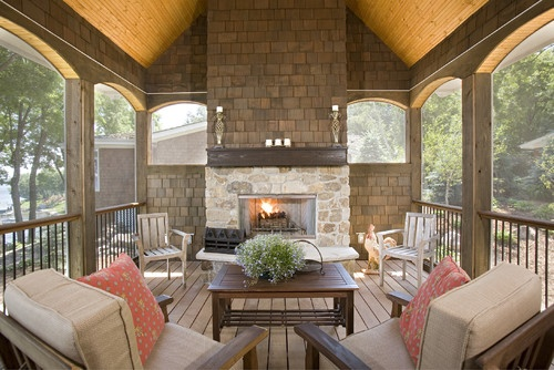 17 best images about screened porch ideas on pinterest for Screened in porch fireplace ideas