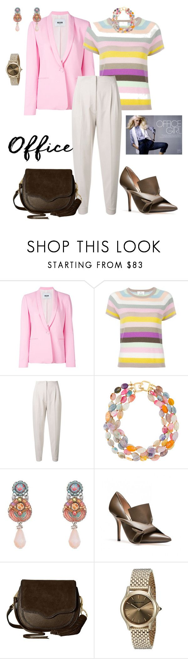 """""""Spring at the Office"""" by scope-stilettos ❤ liked on Polyvore featuring MSGM, Allude, MaxMara, Kenneth Jay Lane, Ayala Bar, Rebecca Minkoff and Emporio Armani"""