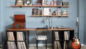 Music Room Makeover (Part 2): DIY Desktop and Pipe Shelving
