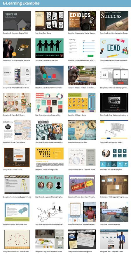 Here are links to over 800 e-learning examples. Use them to inspire your own ideas.