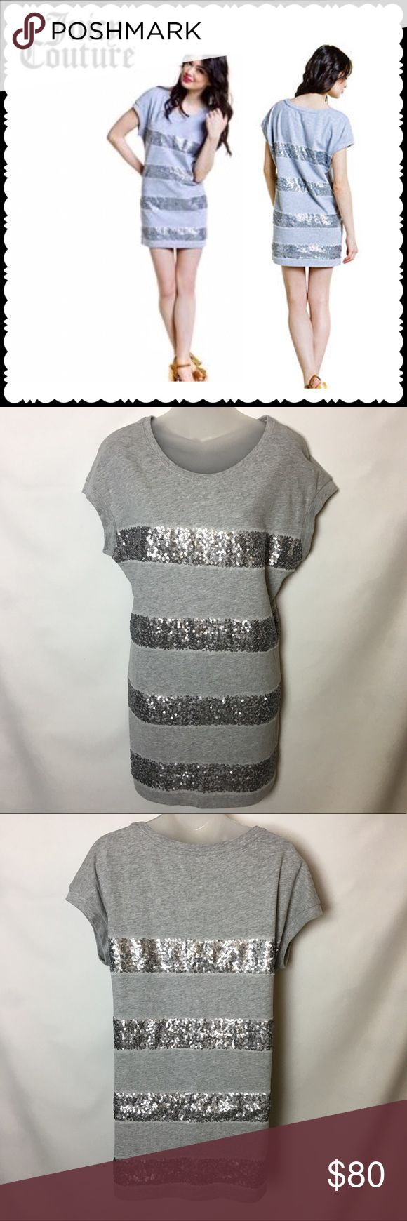 Juicy Couture heather cozy stripped Sequined dress Super cute stripped heather cozy dress Size small MSRP $178! Juicy Couture Dresses Mini